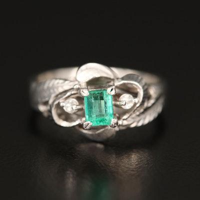 Vintage Platinum Emerald and Diamond Ring