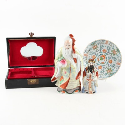 Chinese Ceramic Sanxing Figurines and Other Decorative Accents