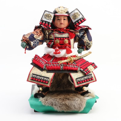 Japanese Handcrafted Samurai Doll on Wooden and Lacquerware Base