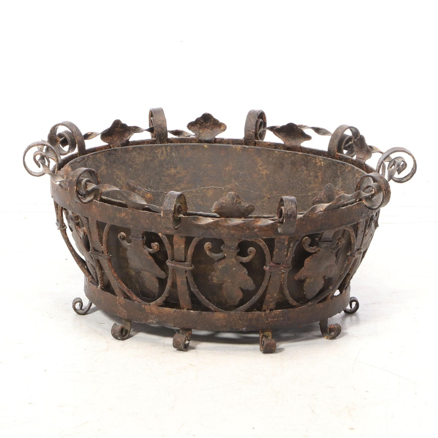 Wrought Iron Planter with Tin Liner, Early 20th Century