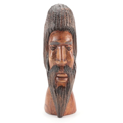 Haitian Style Hand-Carved Wood Sculptural Male Bust