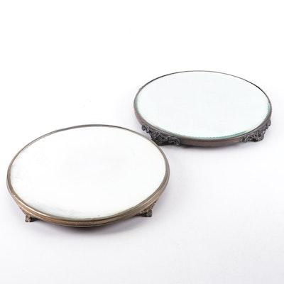 Zipper Cut and Beveled Glass Vanity Plateau Mirrors