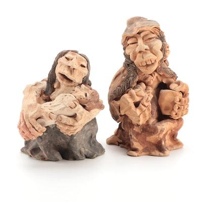 Handmade Folk Art Figural Clay Sculptures