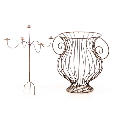 Wire Urn Shaped Planters with Five Arm Candelabra, Late 20th Century