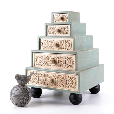 Cream and Sage Composite Graduated Chest with Cast Resin Bird Figurine