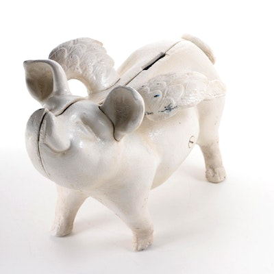 Painted Cast Iron Flying Pig Form Bank