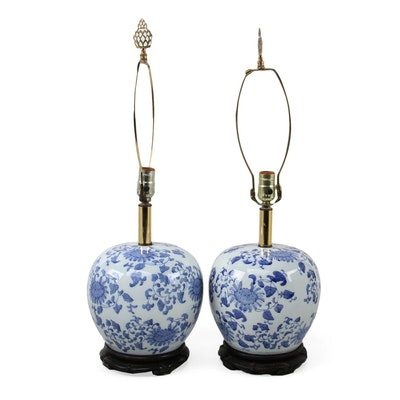 Chinese Blue and White Ceramic Melon Jar Table Lamps