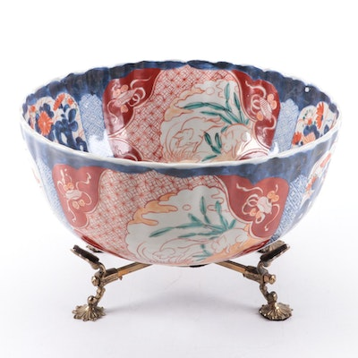Japanese Imari Scalloped Rim Porcelain Bowl with Brass Stand, Antique