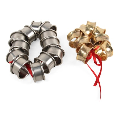Pewter and Gold Electroplate Napkin Rings, Late 20th Century