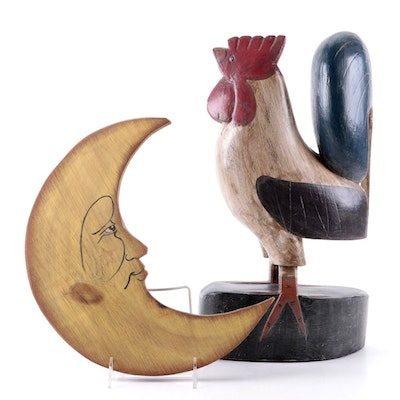 Folk Art Style Painted Wood Rooster and Crescent Moon