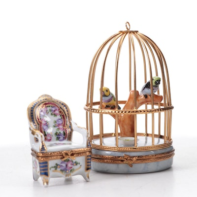 Astoria Hand-Painted Bird Cage Limoges Box and Other Porcelain Limoges Box