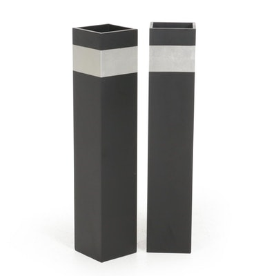 Painted Wood Square Floor Vases, Contemporary