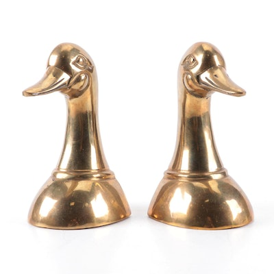 Korean Cast Brass Duck Head Bookends, Mid to Late 20th Century