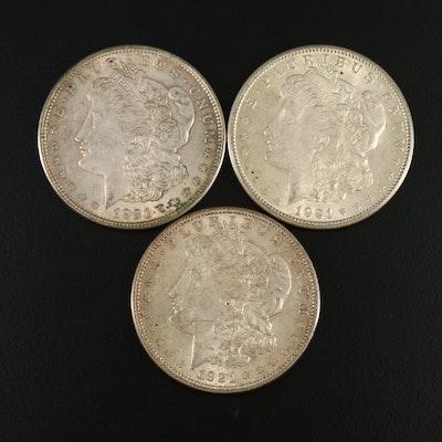 1921-P, -S and -D Morgan Silver Dollars