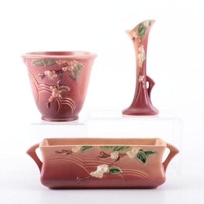 "Roseville Pottery ""Snowberry"" Dusty Rose Glaze Planters and Vase, 1940s"