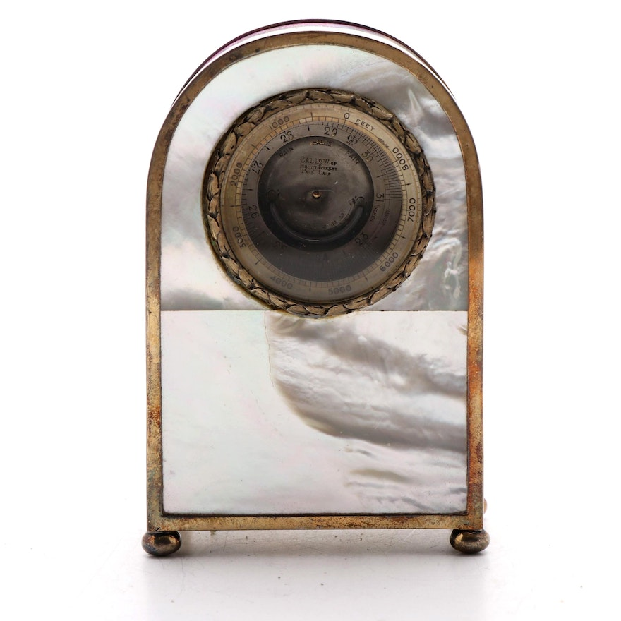 Callow English Edwardian Sterling and Mother-of-Pearl Desk Barometer, 1913