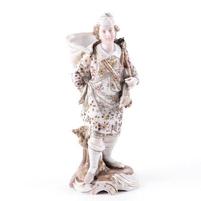 German Richard Eckert & Co. Volkstedt Porcelain Deer Hunter Spill Vase