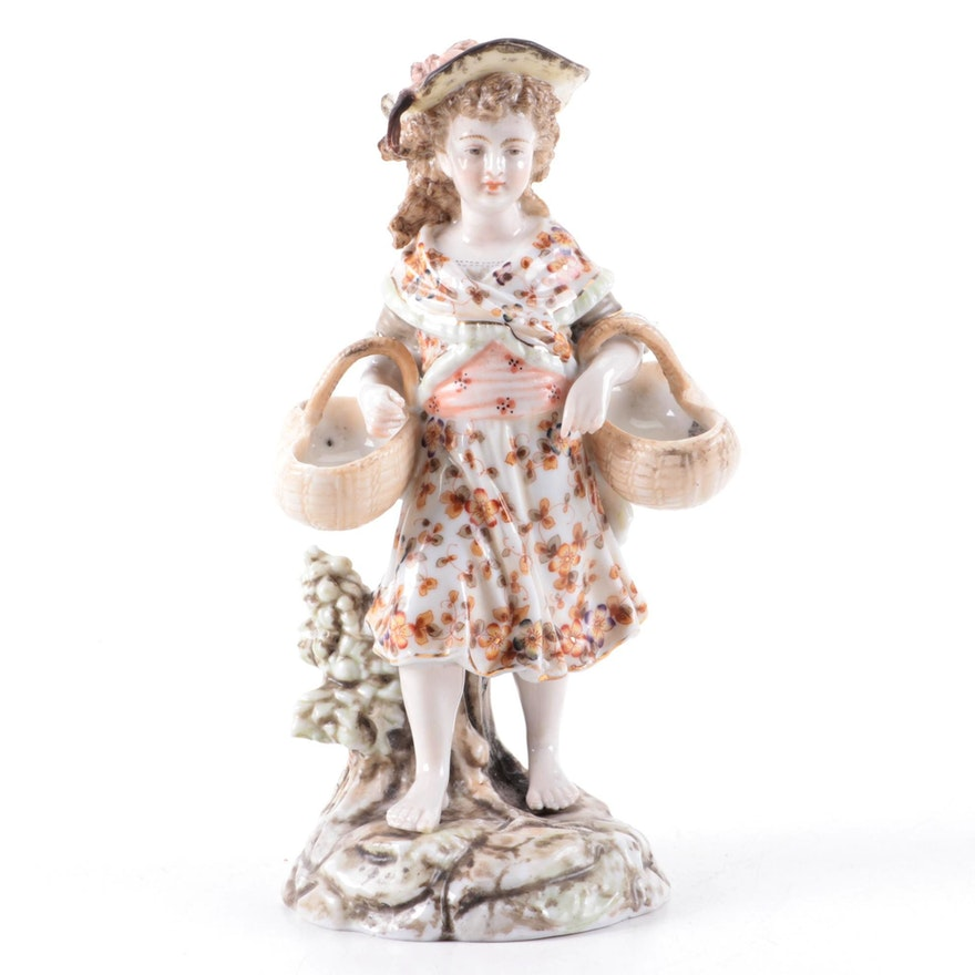 Richard Eckert & Co. Volkstedt Porcelain Rocco Style Figurine, Antique