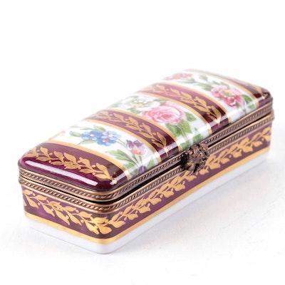 Hand-Painted Floral Motif Limoges Porcelain Box