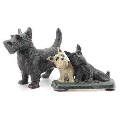Cold-Painted Cast Metal Scottish Terrier Doorstops