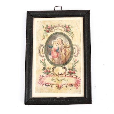 "Parchment Pigment Painting ""S. Josephus,"" Early 19th Century"
