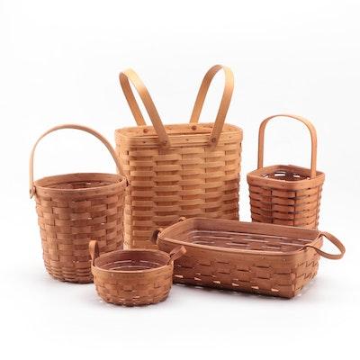 Longaberger and Royce Craft Splint Woven Maple Baskets, Late 20th Century