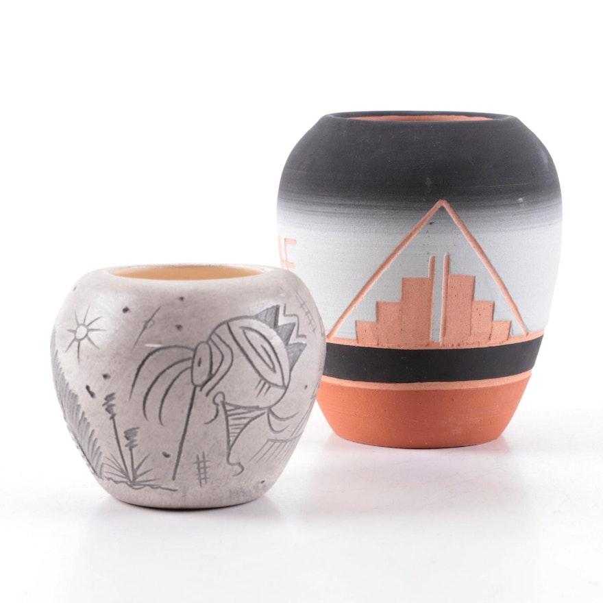 Dwayne Blackhorse Navajo Sgraffito Earthenware Vase with Other Navajo Vase
