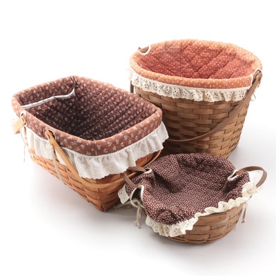 Longaberger Splint Woven Baskets with Calico Fabric Liners, 1980s