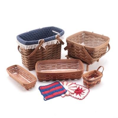 Longaberger Splint Woven Maple Baskets with Crocheted Pot Holders