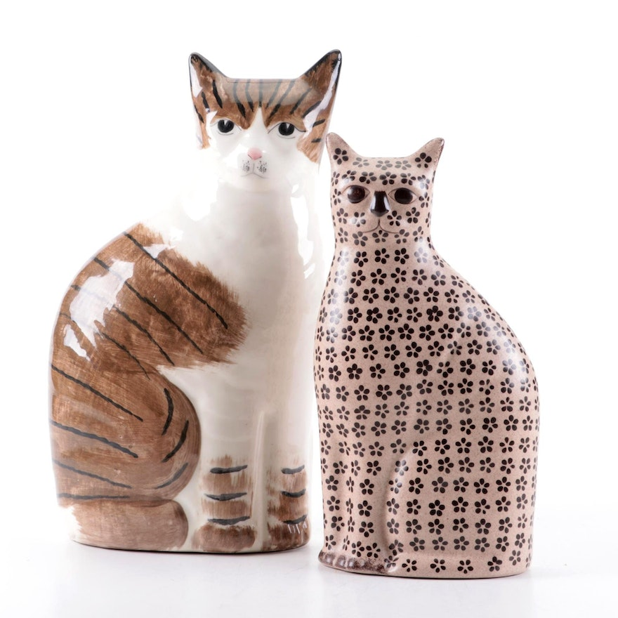Hand-Painted Ceramic Cat Figurine with Other Cat Figurine