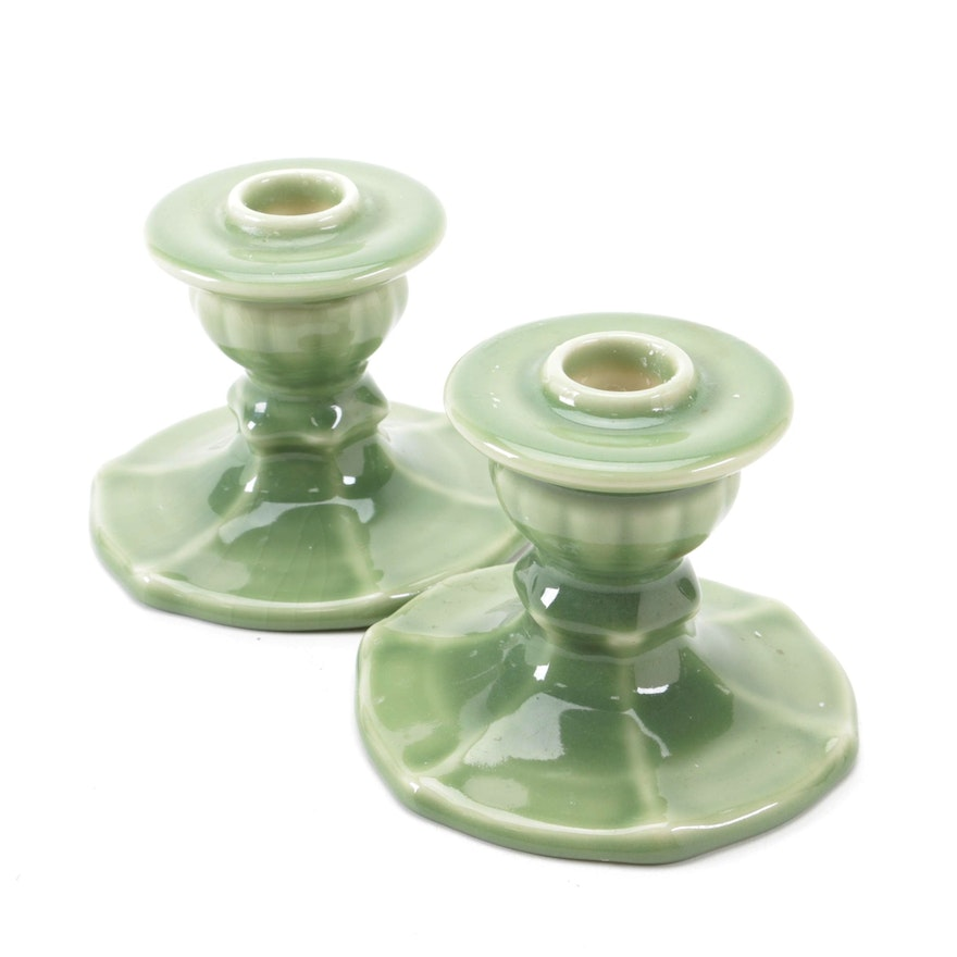 Rookwood Pottery Green High Glaze Ceramic Candle Holders, 1946