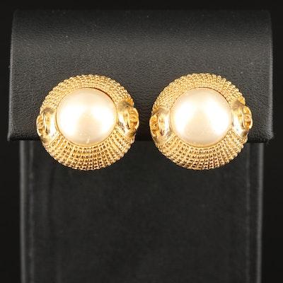 Chanel Faux Pearl Button Earrings