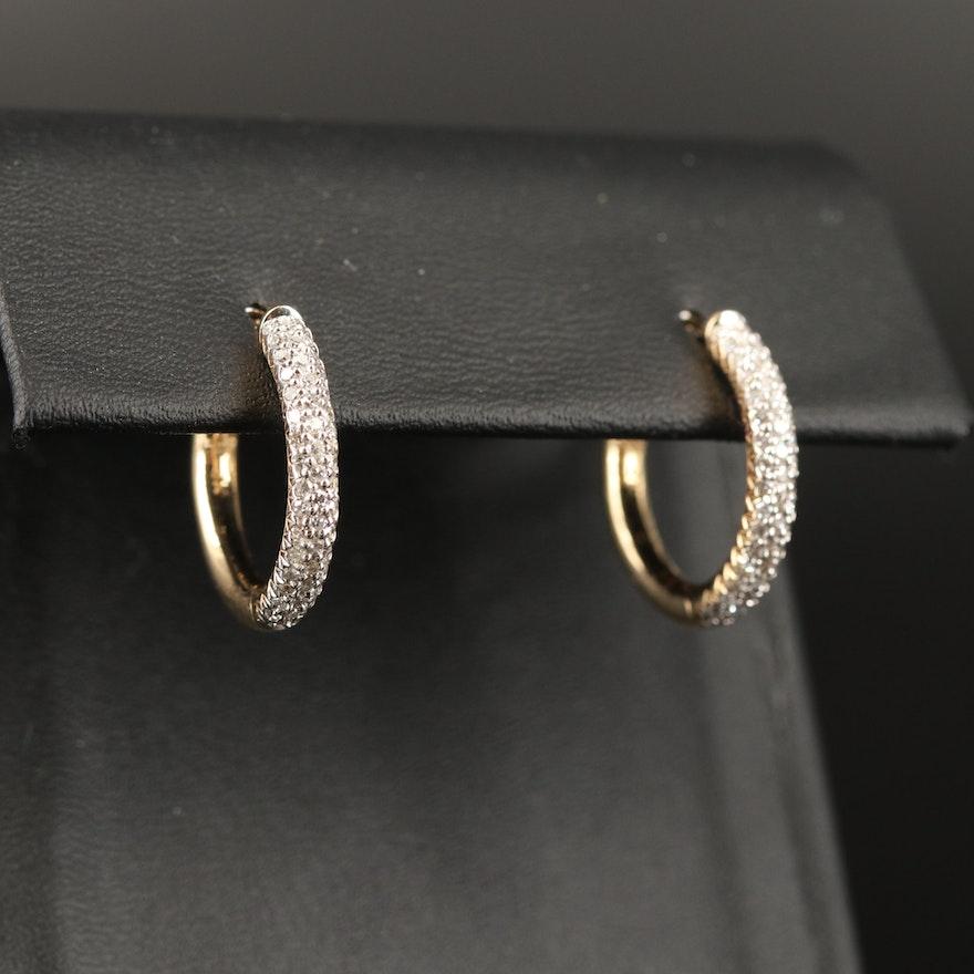 14K Pavé Diamond Hoop Earrings