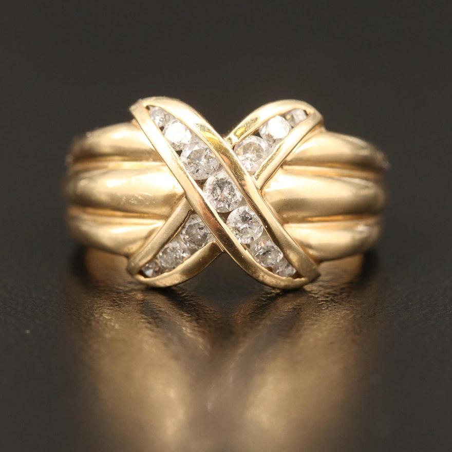 10K Diamond 'X' Domed Band
