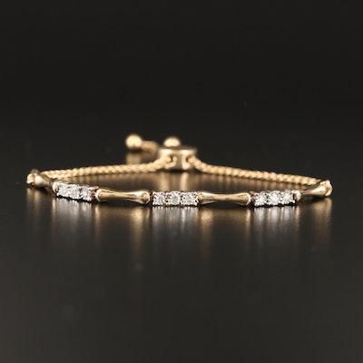 10K Diamond Link Bolo Bracelet