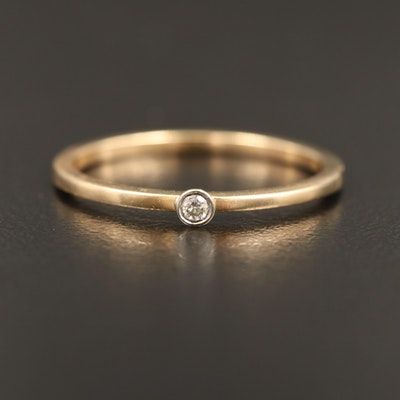 14K 0.02 CT Diamond Solitaire Ring