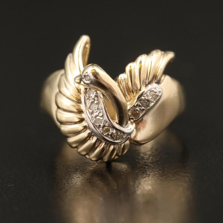 14K Diamond Swan Ring