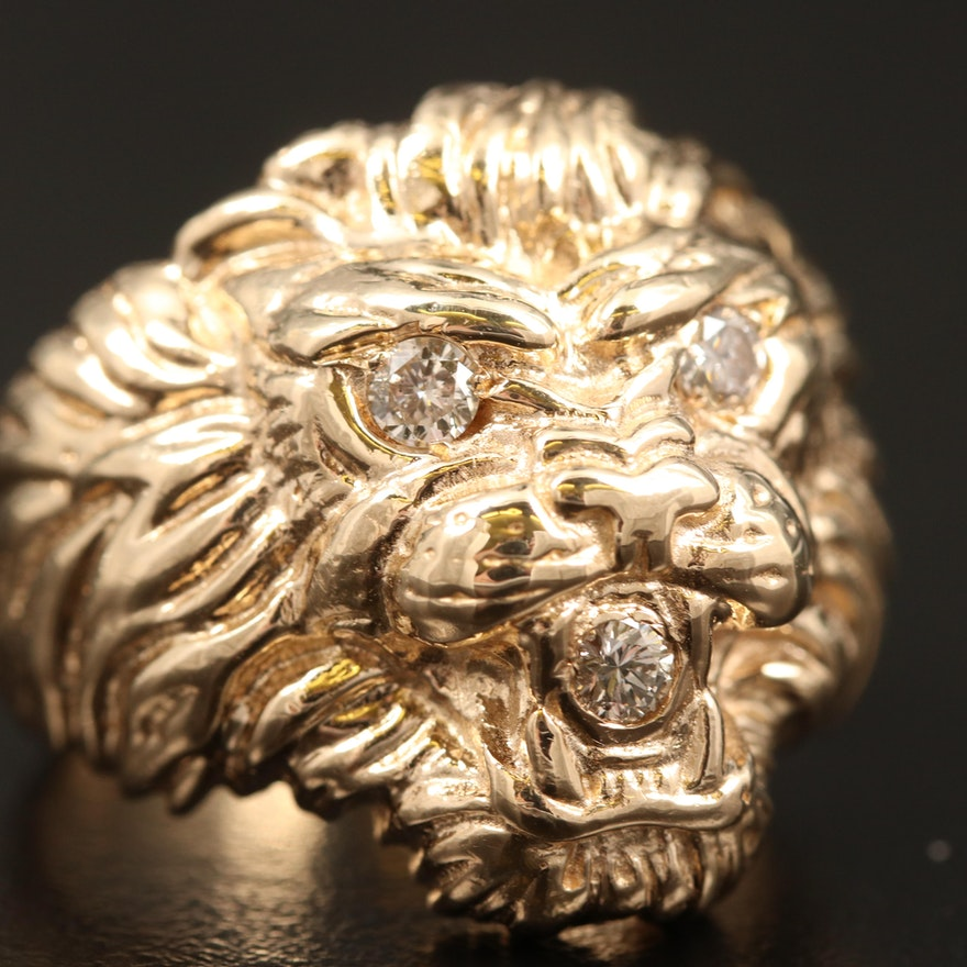 14K Diamond Lion Head Ring
