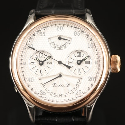 Two Tone Stella. L Power Reserve Dial Time and Dual Time Wristwatch