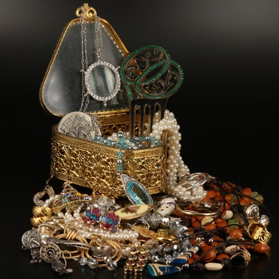 Jewelry Including Sterling, Seeds and Heart Jewelry Box