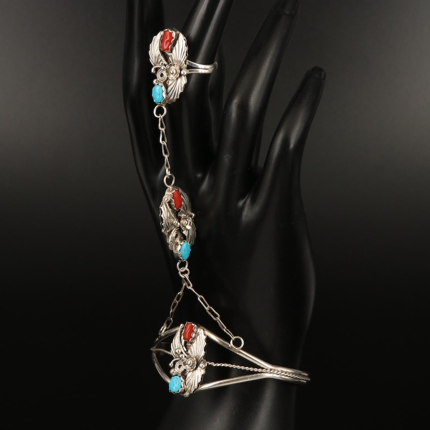 Signed Southwestern Sterling Coral and Turquoise Harem Cuff