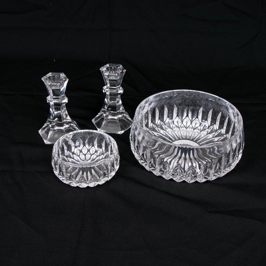 """Gorham """"Althea"""" Crystal Bowls and Other Crystal Candlesticks"""