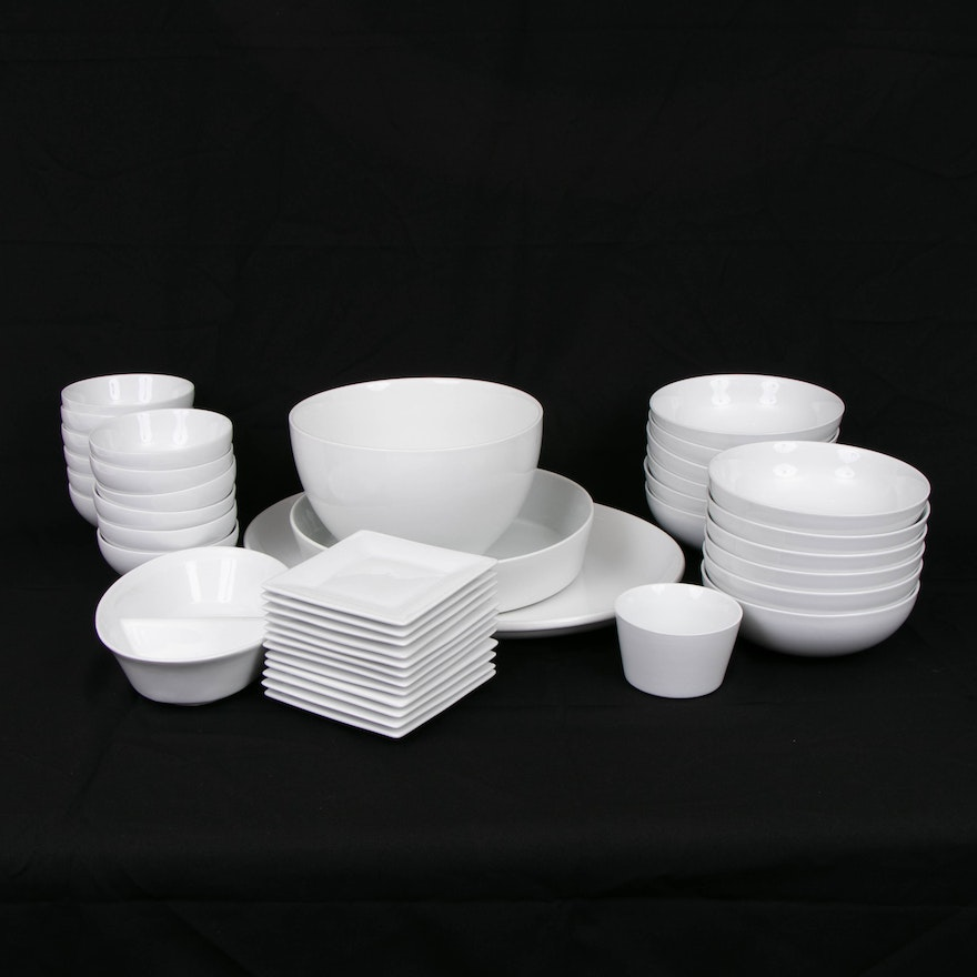 Crate & Barrel White Porcelain Dinnerware and Other Tableware