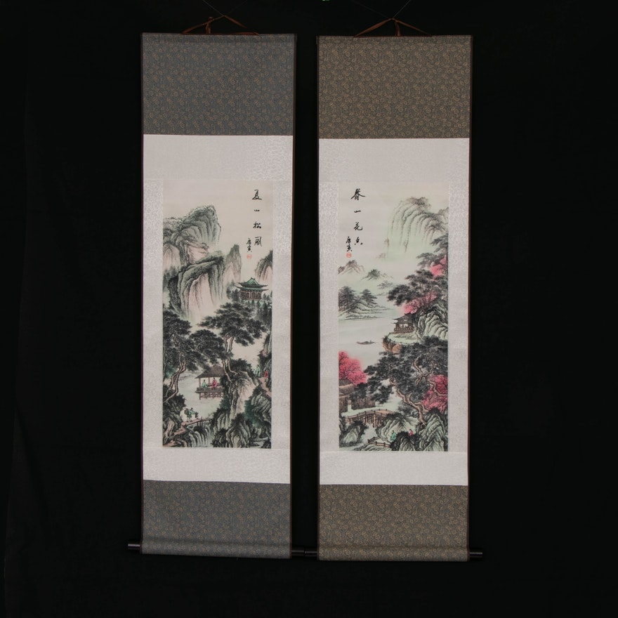 Japanese Landscape Offset Lithographs Wall Hanging Scrolls, Late 20th Century