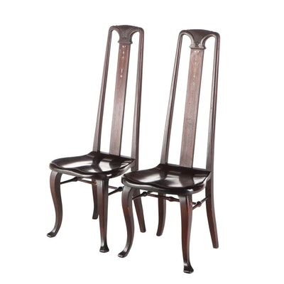 Pair of R.J. Horner & Co. Art Nouveau Mahogany, MOP, and Marquetry Side Chairs