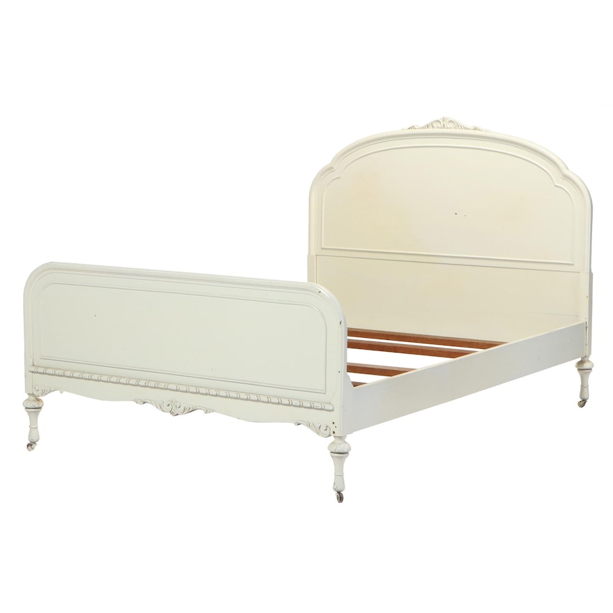 Jacobean Style White-Painted and Gilt-Incised Full Size Bed Frame