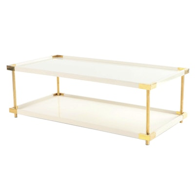 """Bernhardt Furniture """"Brielle"""" Ivory-Lacquered and Brass Two-Tier Cocktail Table"""