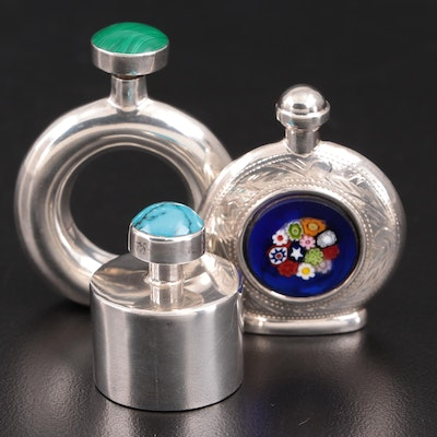 Mexican and Italian Sterling Perfume Bottles with Gemstones and Millefiori Glass