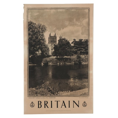 """Rotogravure Travel Poster for Great Britain """"England - Cathedral and River Wye"""""""