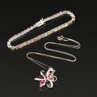 Sterling Silver Tourmaline Bracelet and Necklace with Topaz Accents